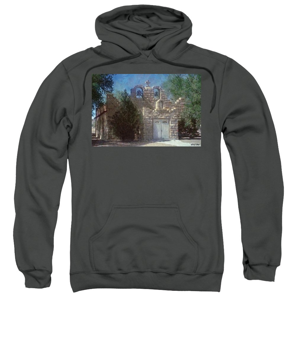 Architecture Sweatshirt featuring the painting High Desert Church by Jeffrey Kolker