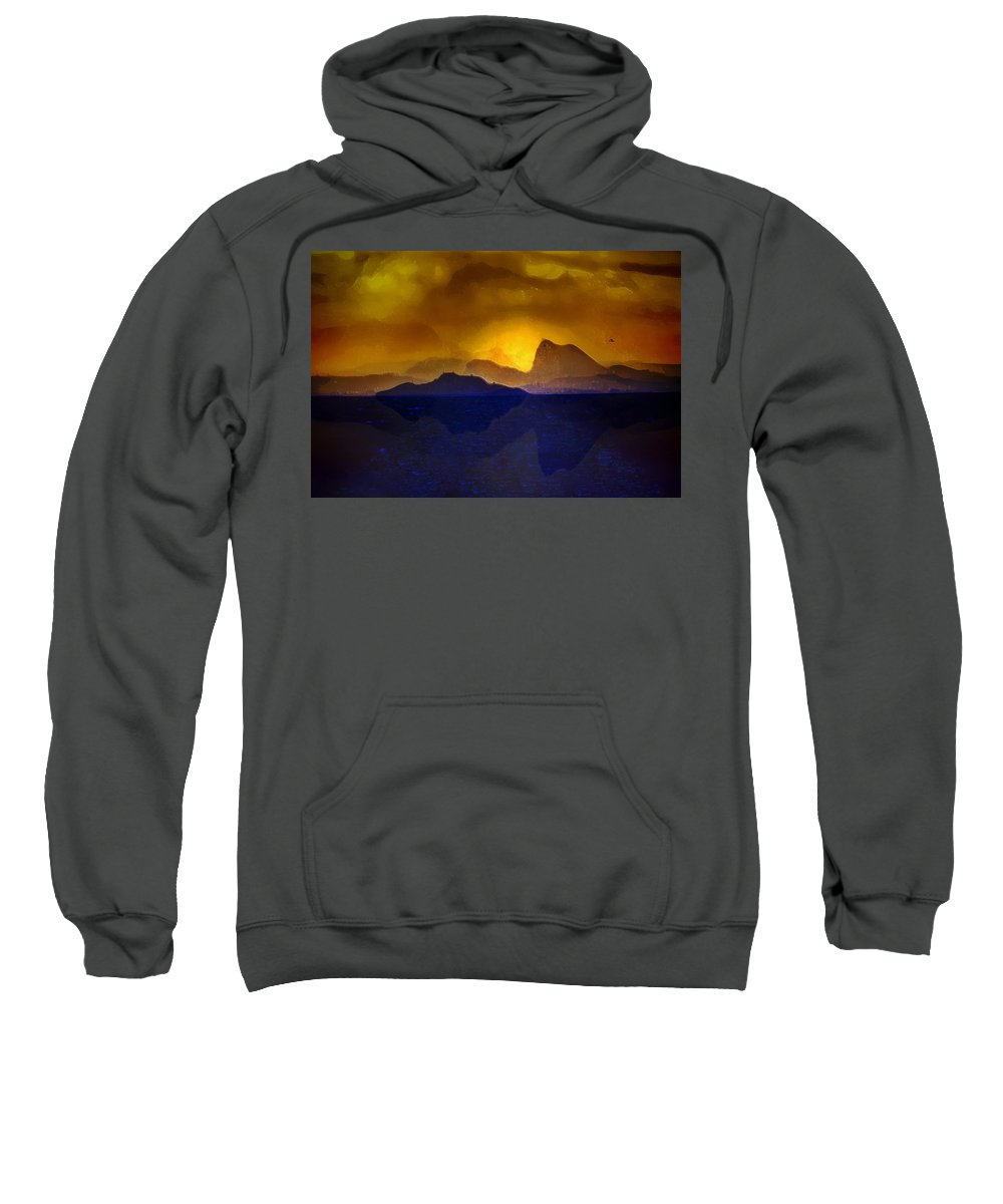 Sea Sweatshirt featuring the digital art Hills In The Distance At Sunset by Hal Halli