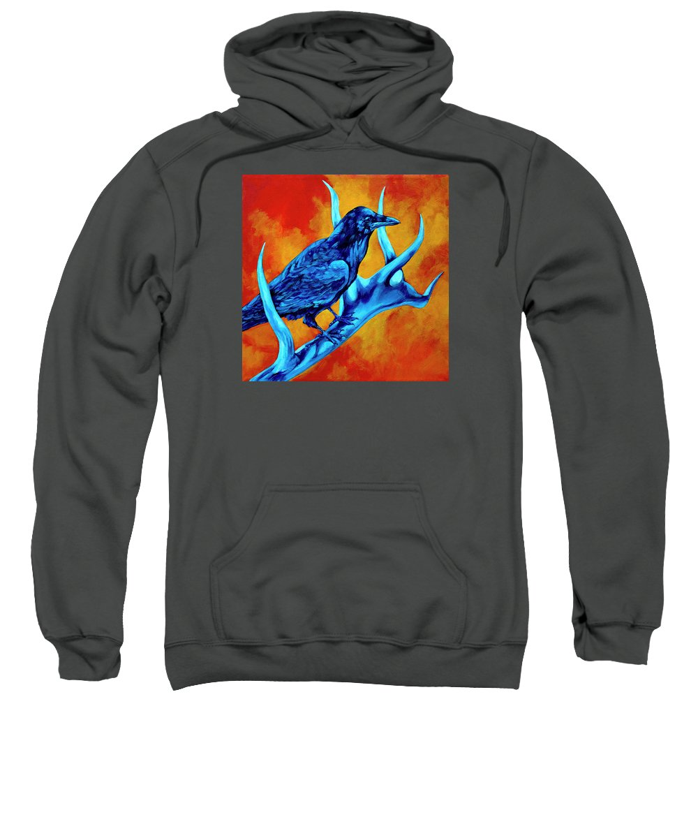 Elk Sweatshirt featuring the painting Hitchhiker by Derrick Higgins