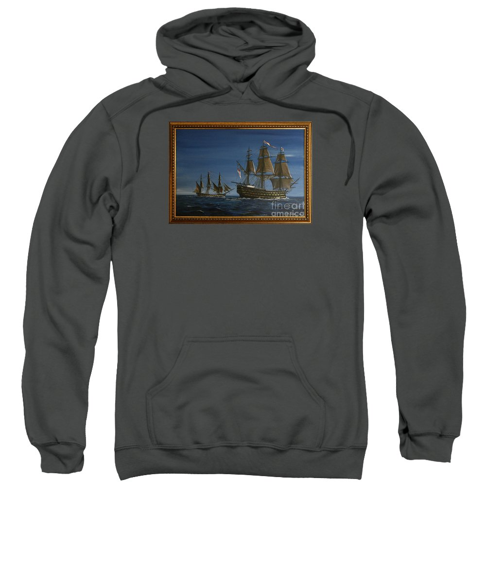 Battle Of Trafalgar Sweatshirt featuring the painting Hms Victory Dawn by Richard John Holden RA