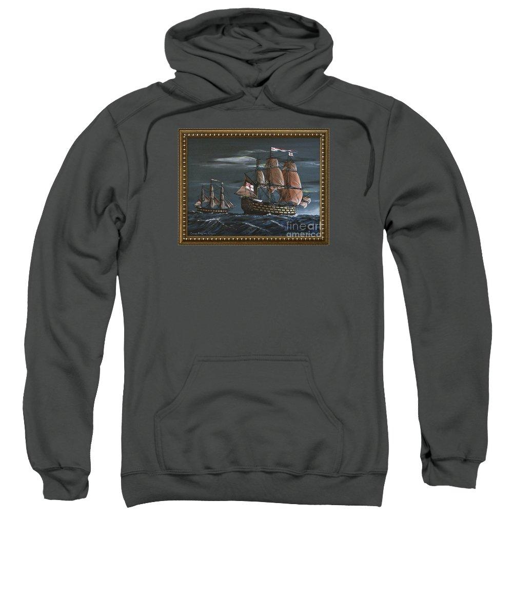Battle Of Trafalgar Sweatshirt featuring the painting Hms Victory Early Wind by Richard John Holden RA