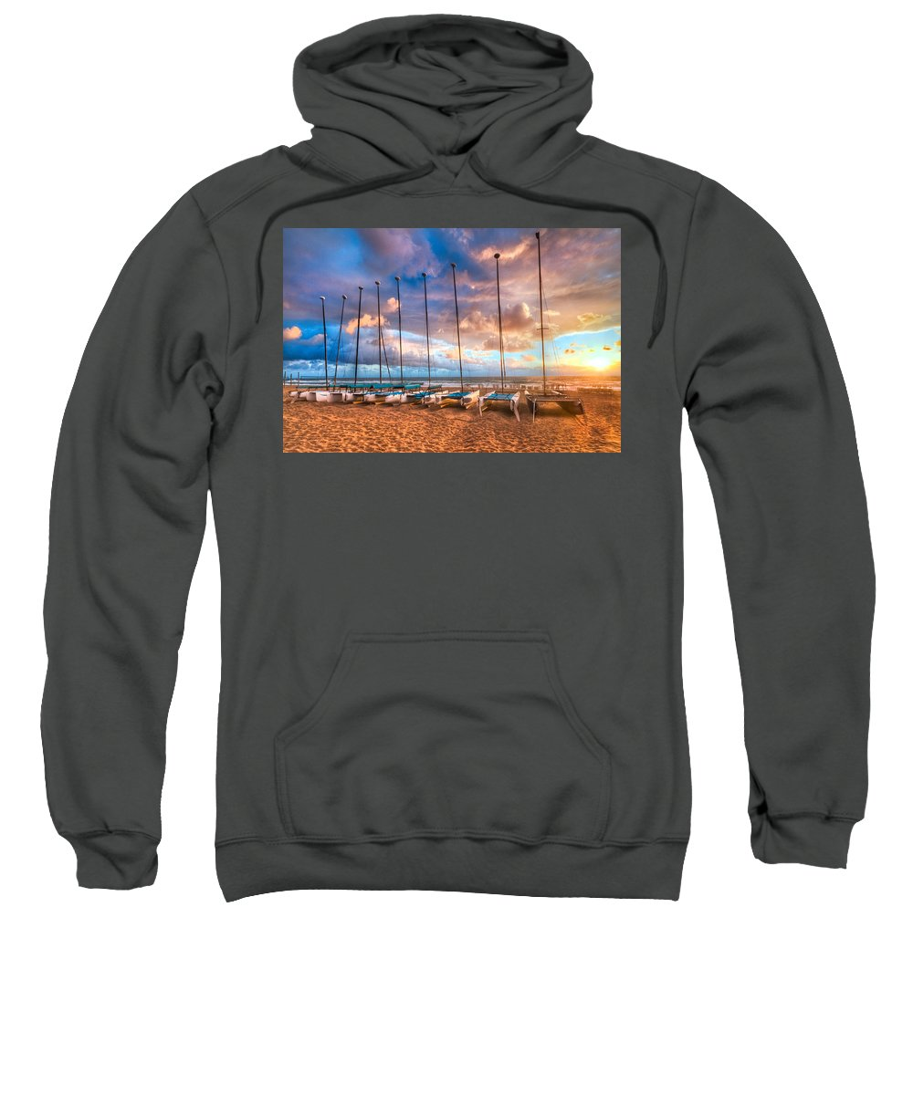 Boats Sweatshirt featuring the photograph Hobe-cats by Debra and Dave Vanderlaan