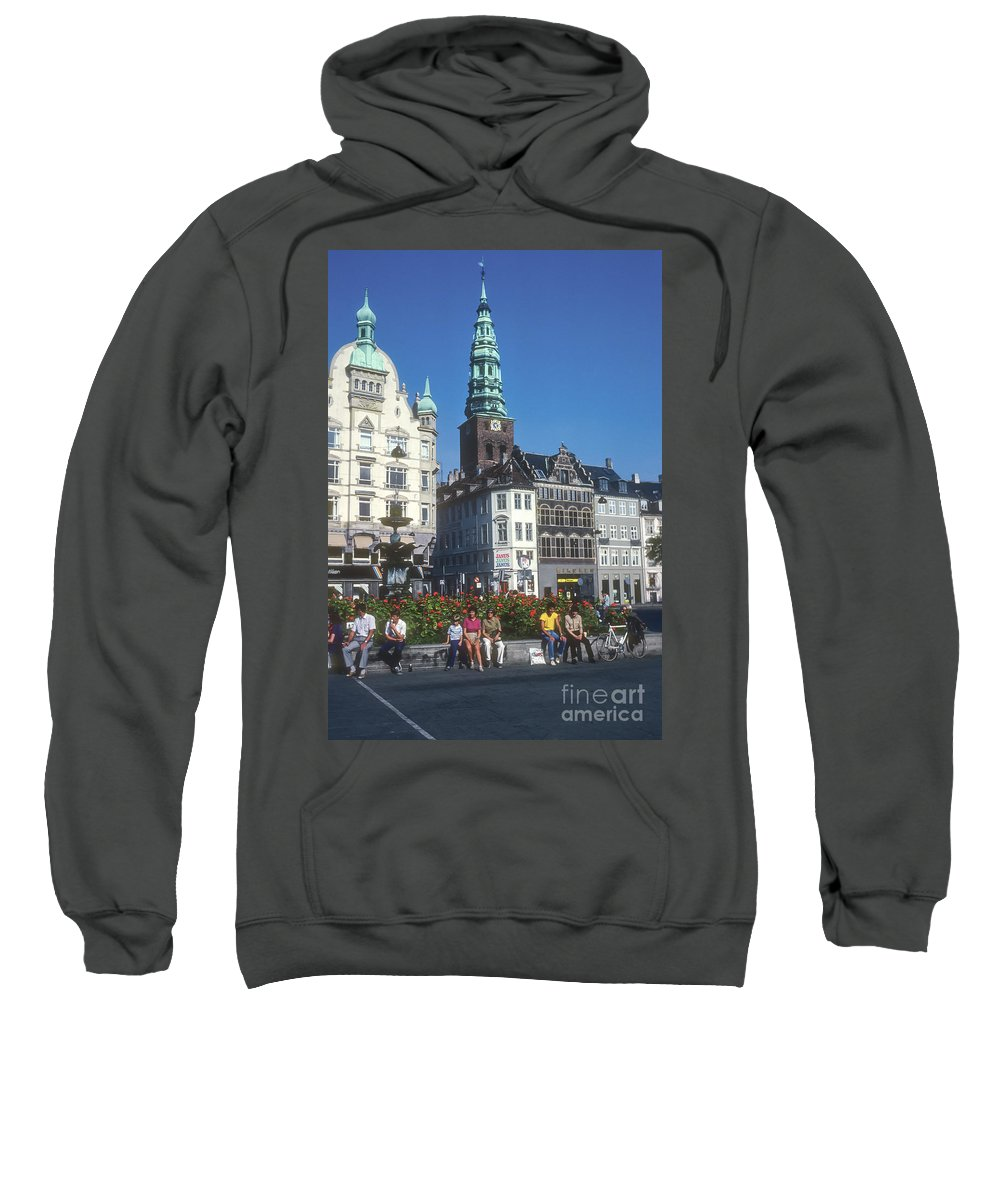 Højbro Hojbro Square Copenhagen Denmark City Squares Cities Cityscape Cityscapes St. Nicholas Church Tower Clock Towers Building Buildings Structures Stork Fountain Fountains People Person Persons Men Man Boy Boys Flower Flowers Creatures Sweatshirt featuring the photograph Hojbro Square by Bob Phillips