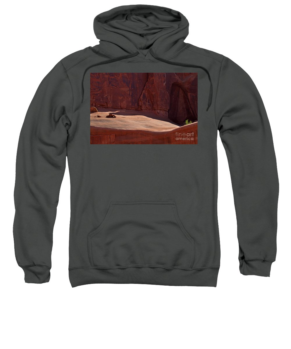 Arches National Park Print Sweatshirt featuring the photograph Hold On by Jim Garrison