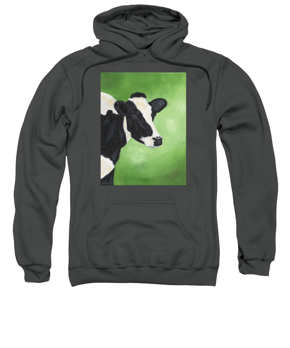 Cow Painting Sweatshirt featuring the painting Holstein Cow by Annamarie Lombardo