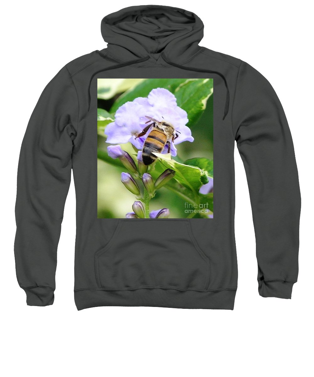 Purple Flower Sweatshirt featuring the photograph Honey Bee On Lavender Flower by Mary Deal