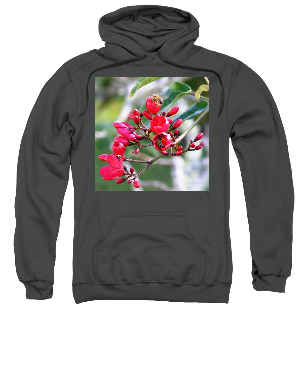 Red Sweatshirt featuring the photograph Honey Bee Working by Mary Deal