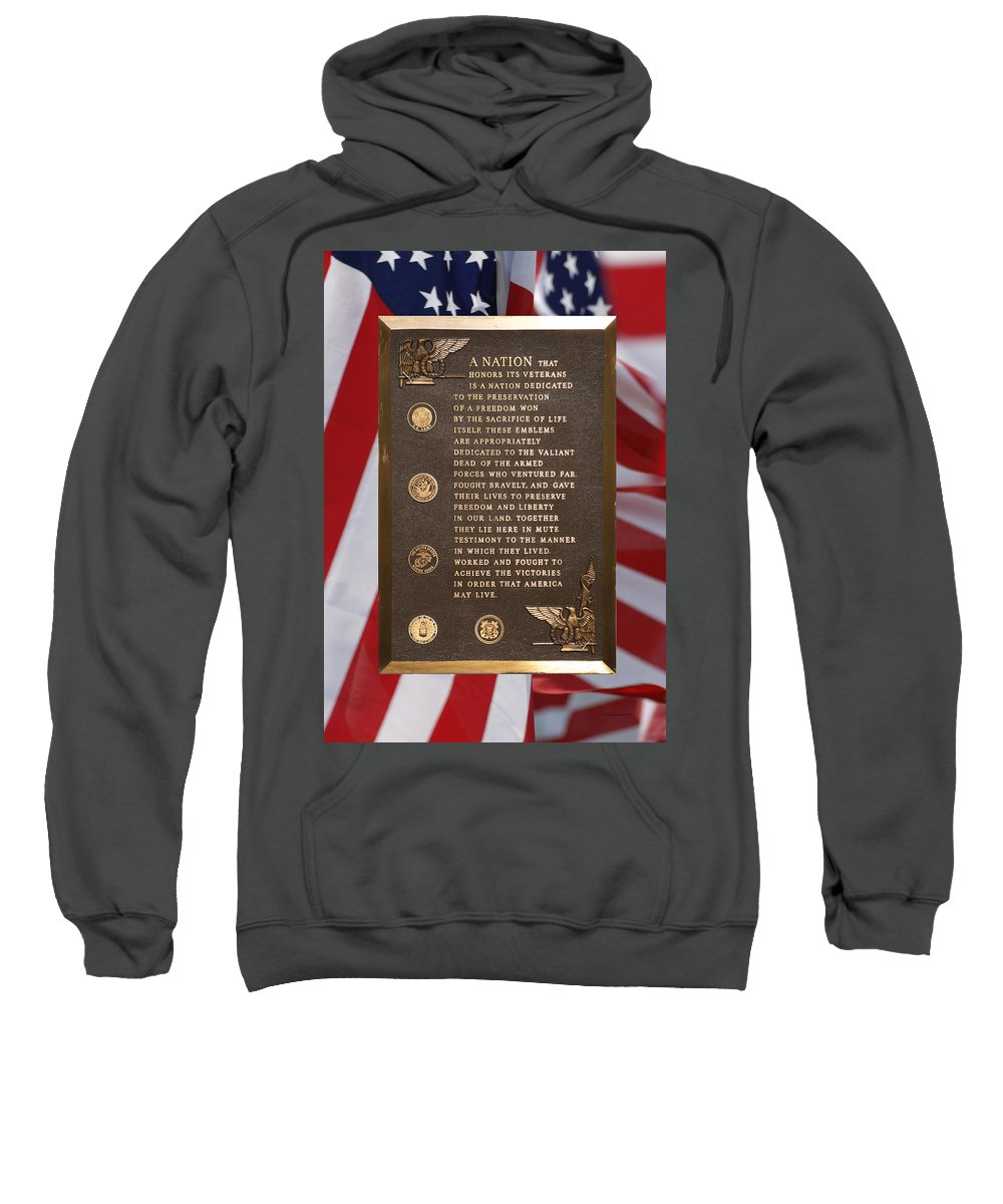 Composite Sweatshirt featuring the photograph Honor The Veteran Signage With Flags 2 Panel Composite Digital Art by Thomas Woolworth