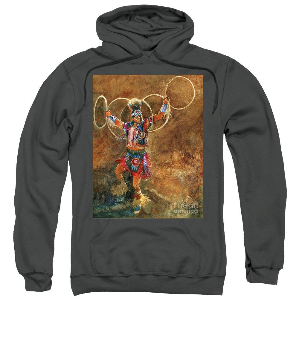 Hopi Hoop Dancer Sweatshirt featuring the painting Hopi Hoop Dancer by Marilyn Smith