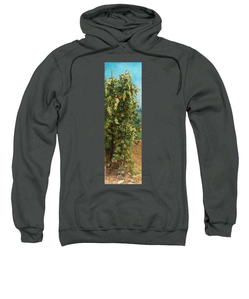 Hop; Hops; Crop; Crops; Flower; Flowers; Plant; Vine; Vines; Beer; Rural; Countryside Sweatshirt featuring the painting Hops 1882 by Philip Hermogenes Calderon