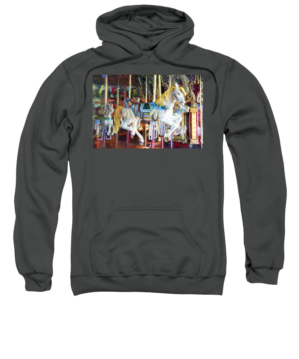 Franklin Park Carousel Sweatshirt featuring the photograph Horse On Carousel by Alice Gipson