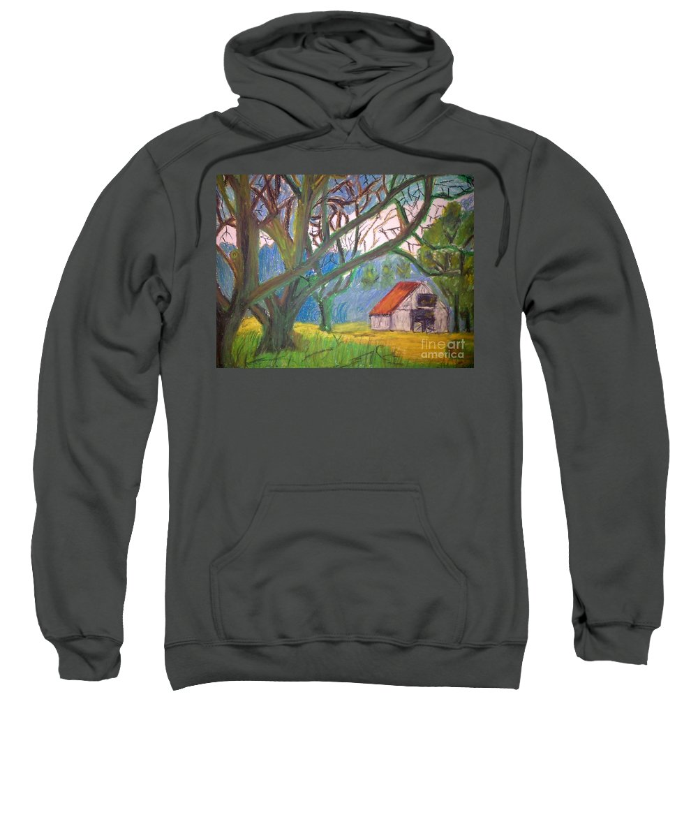 Pastel Sweatshirt featuring the pastel House And Trees by Sumisha Chandan