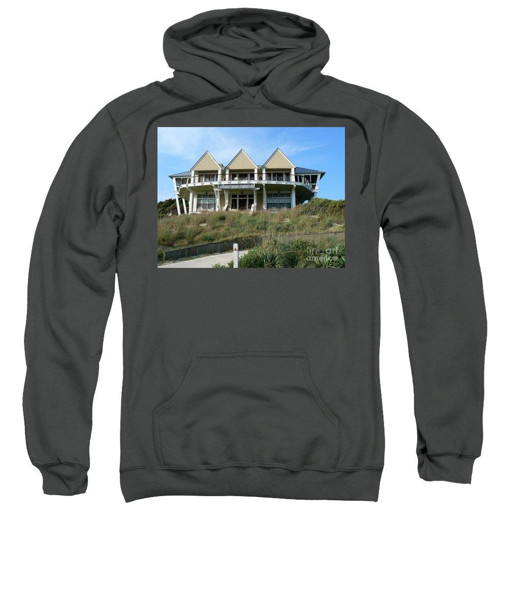 Bald Head Island Sweatshirt featuring the photograph Houseboat Boathouse by Dona Dugay