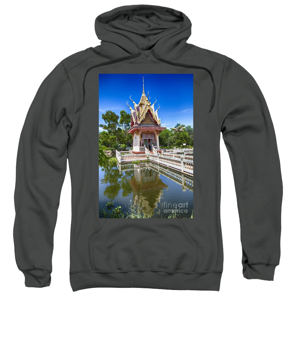 Thailand Sweatshirt featuring the photograph Hua Hin Temple Pond by Sophie McAulay