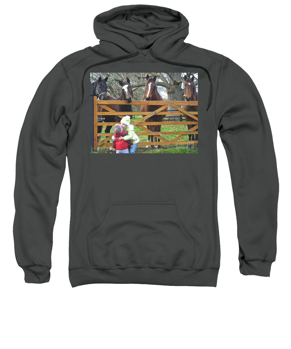 Ireland Horses Sweatshirt featuring the photograph Hugs And Kisses by Suzanne Oesterling