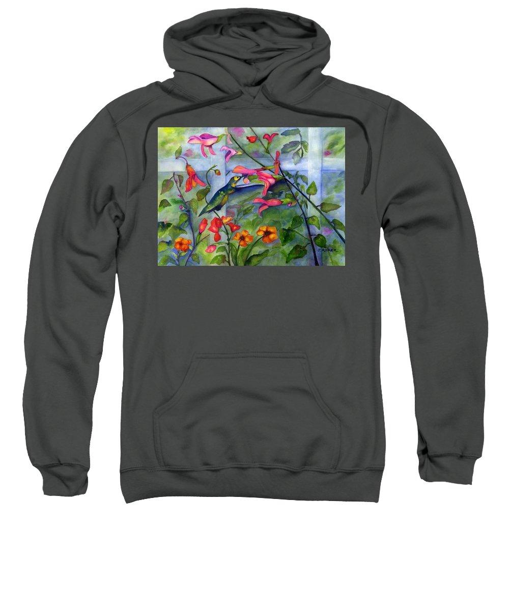 Birds. Hummingbird Sweatshirt featuring the painting Hummingbird Dance by Jane Ricker