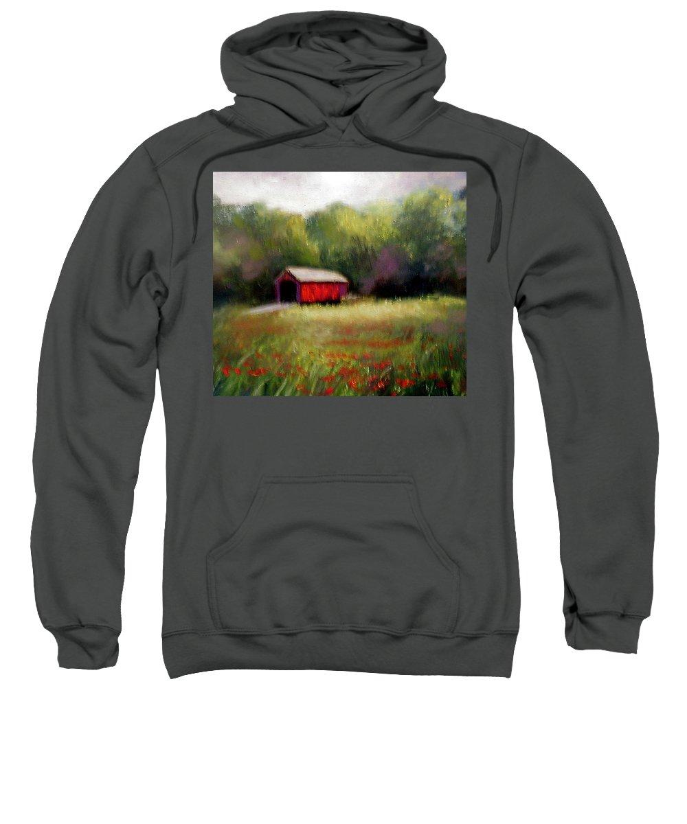 Covered Bridge Sweatshirt featuring the painting Hune Bridge by Gail Kirtz