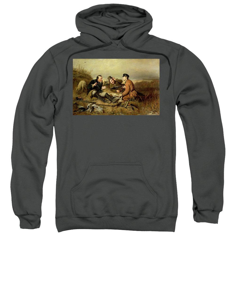 Rifle Sweatshirt featuring the photograph Hunters, 1816 by Vasili Grigorevich Perov