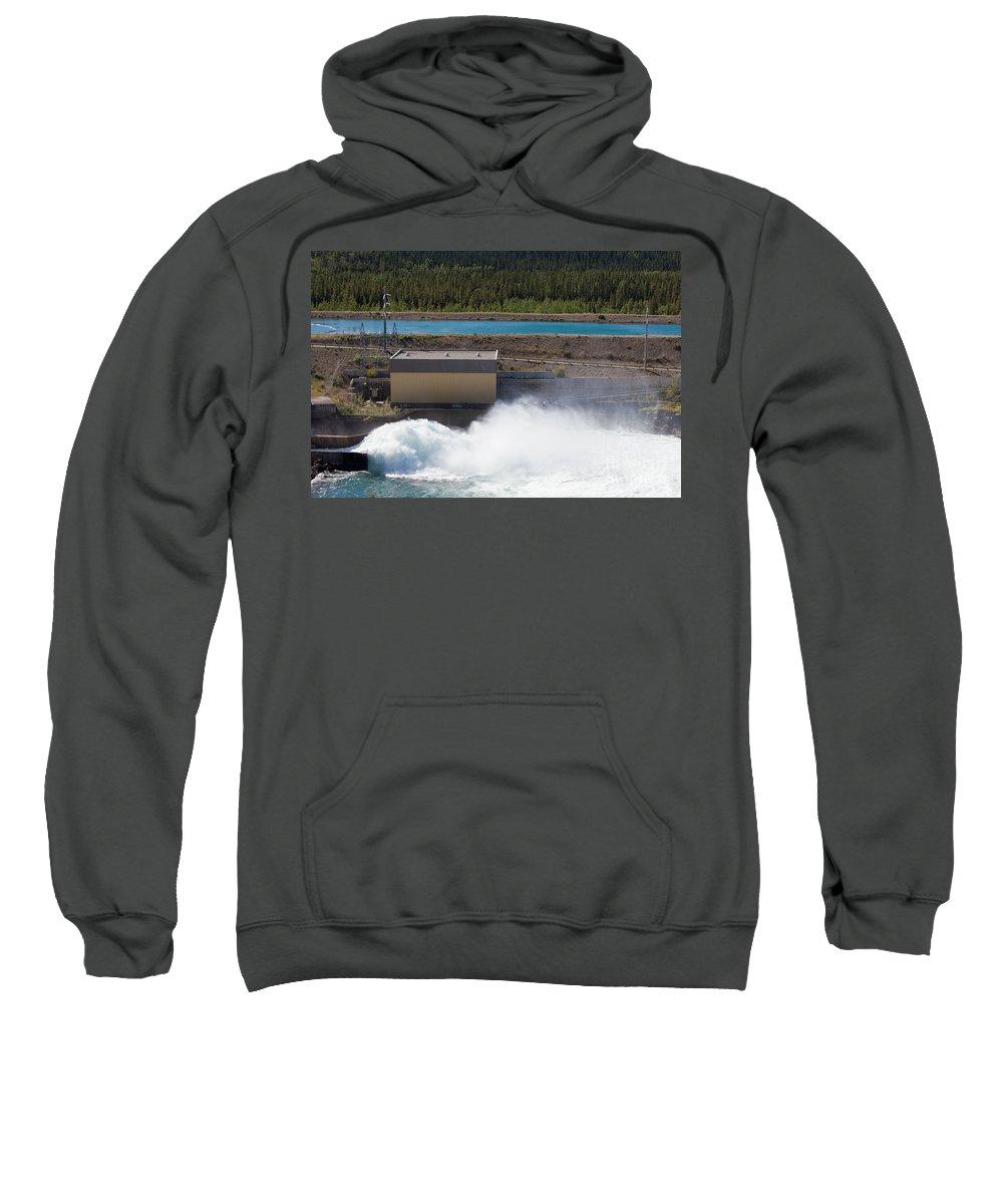 Breaking Sweatshirt featuring the photograph Hydro Power Station Dam Open Gate Spillway Water by Stephan Pietzko