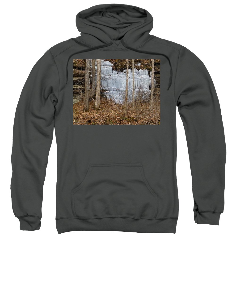 Ice Sweatshirt featuring the photograph Ice Falls by Nick Kirby