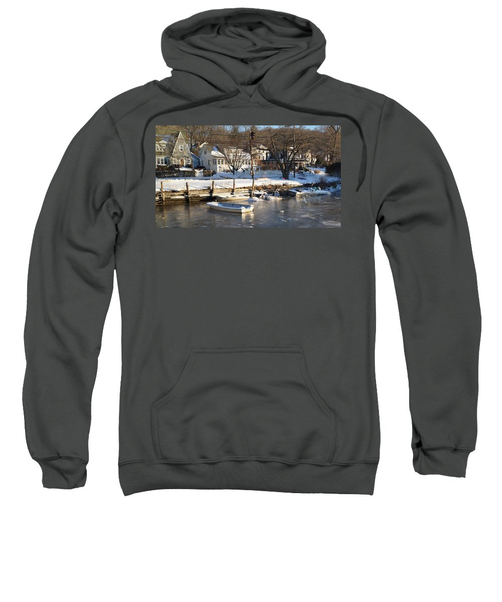 Ice Sweatshirt featuring the photograph Icebound Harbor by John Wall