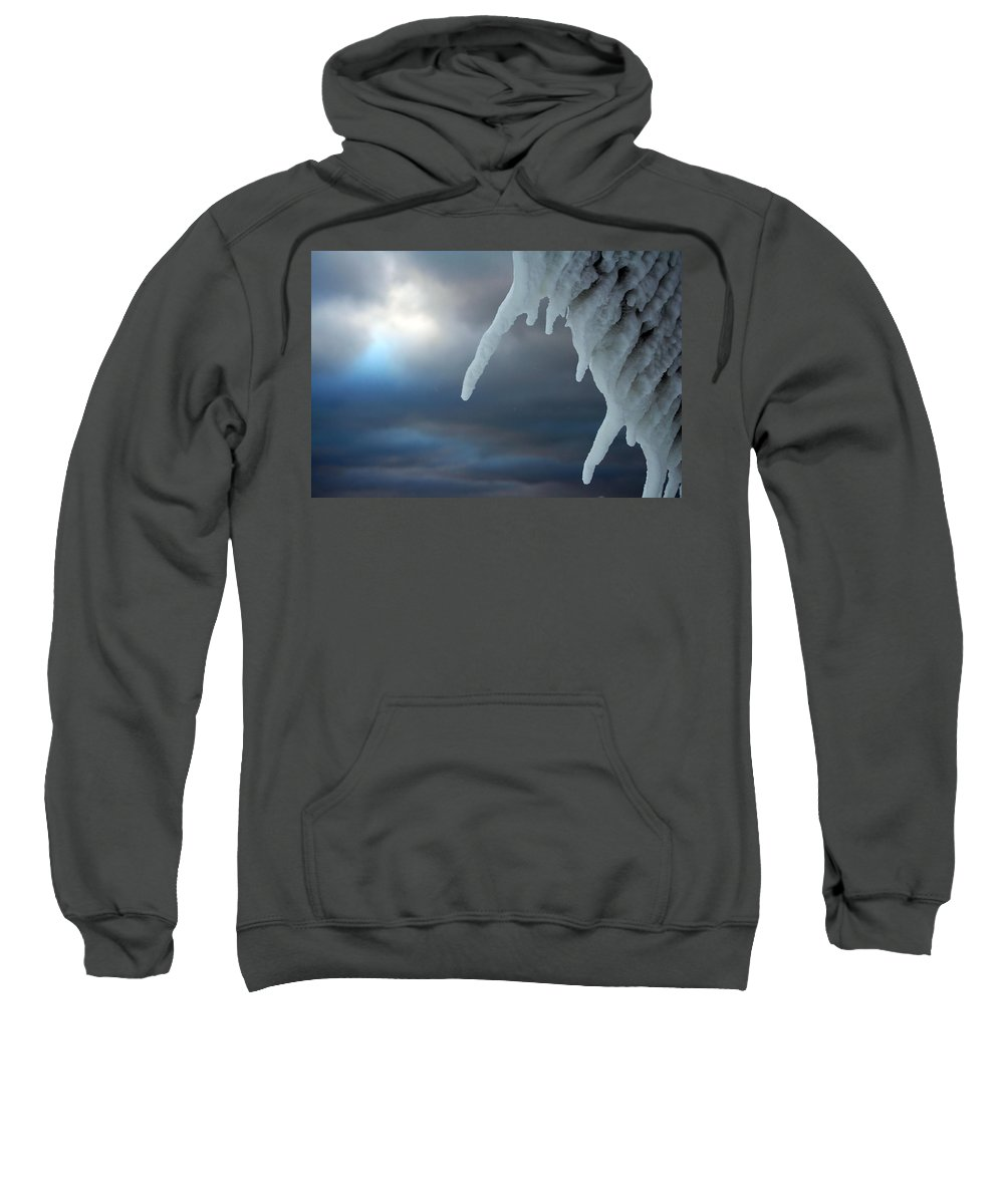 Manistee Sweatshirt featuring the photograph Icicle 2 by Allan Lovell
