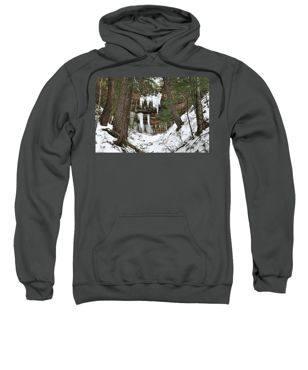 Upper Peninsula Sweatshirt featuring the photograph Icicle Formations In The Upper Peninsula by Kathryn Lund Johnson