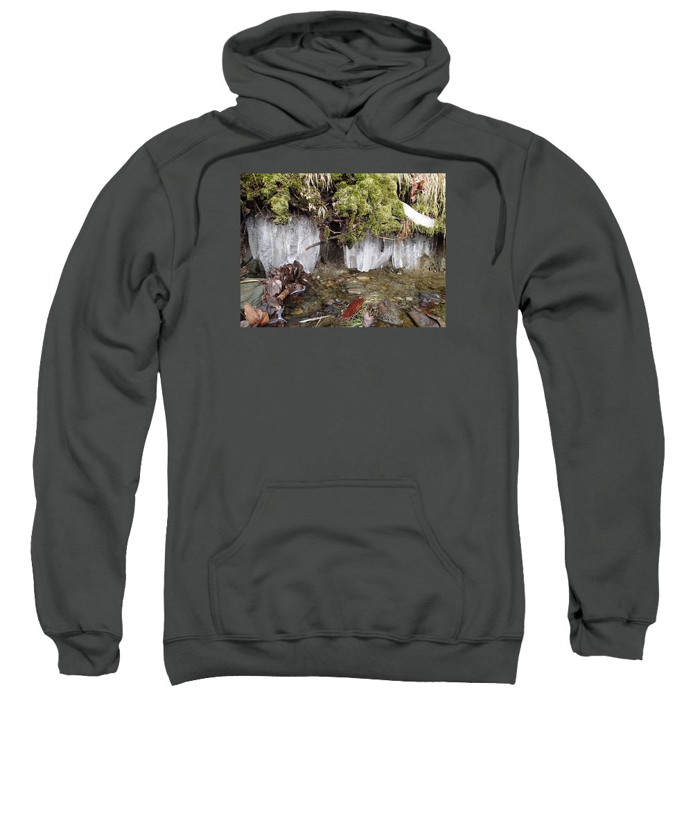 Icicles Sweatshirt featuring the photograph Icicles In The Stream by Robert Nickologianis