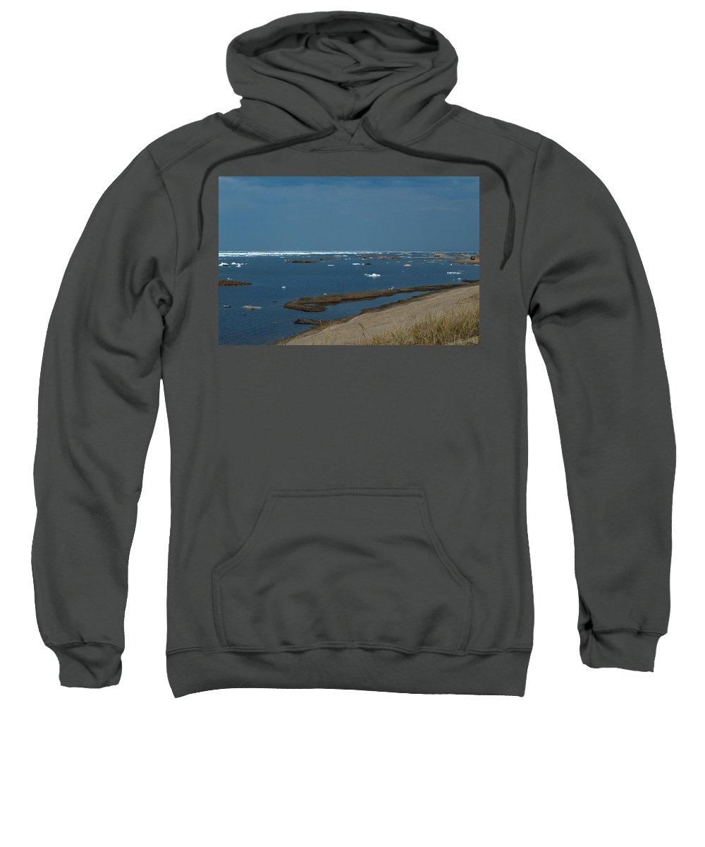 Great Lakes Sweatshirt featuring the photograph Icy Horizon by Linda Kerkau