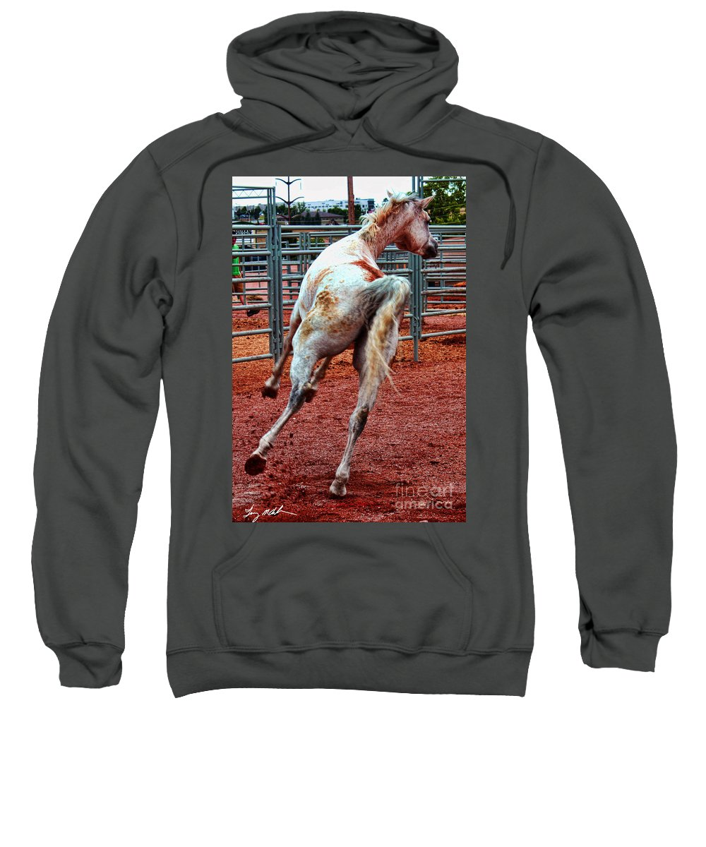 Horse Sweatshirt featuring the photograph I'm Off by Tommy Anderson
