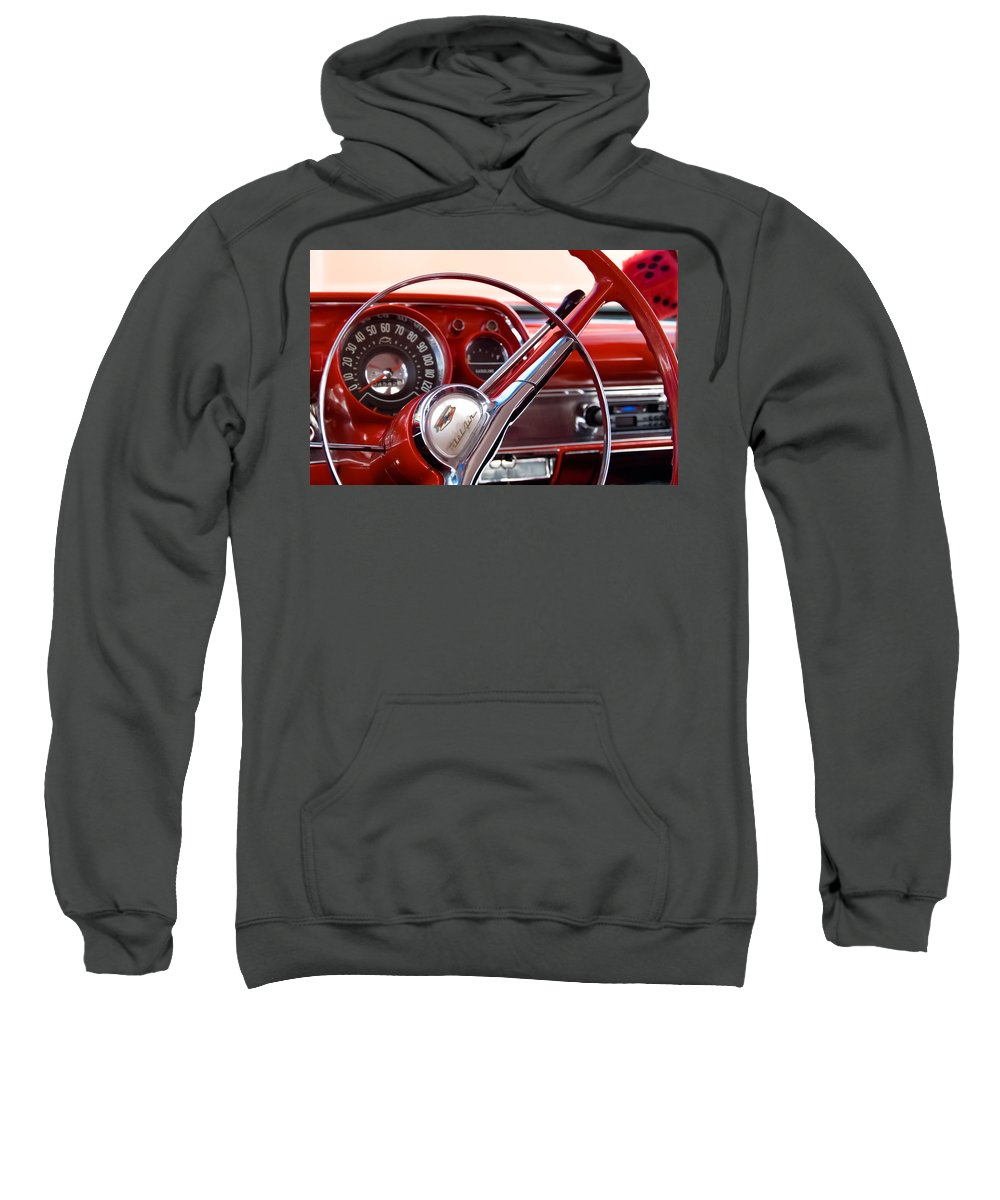 Classic Chevrolets Sweatshirt featuring the photograph Red Belair With Dice by Robert VanDerWal