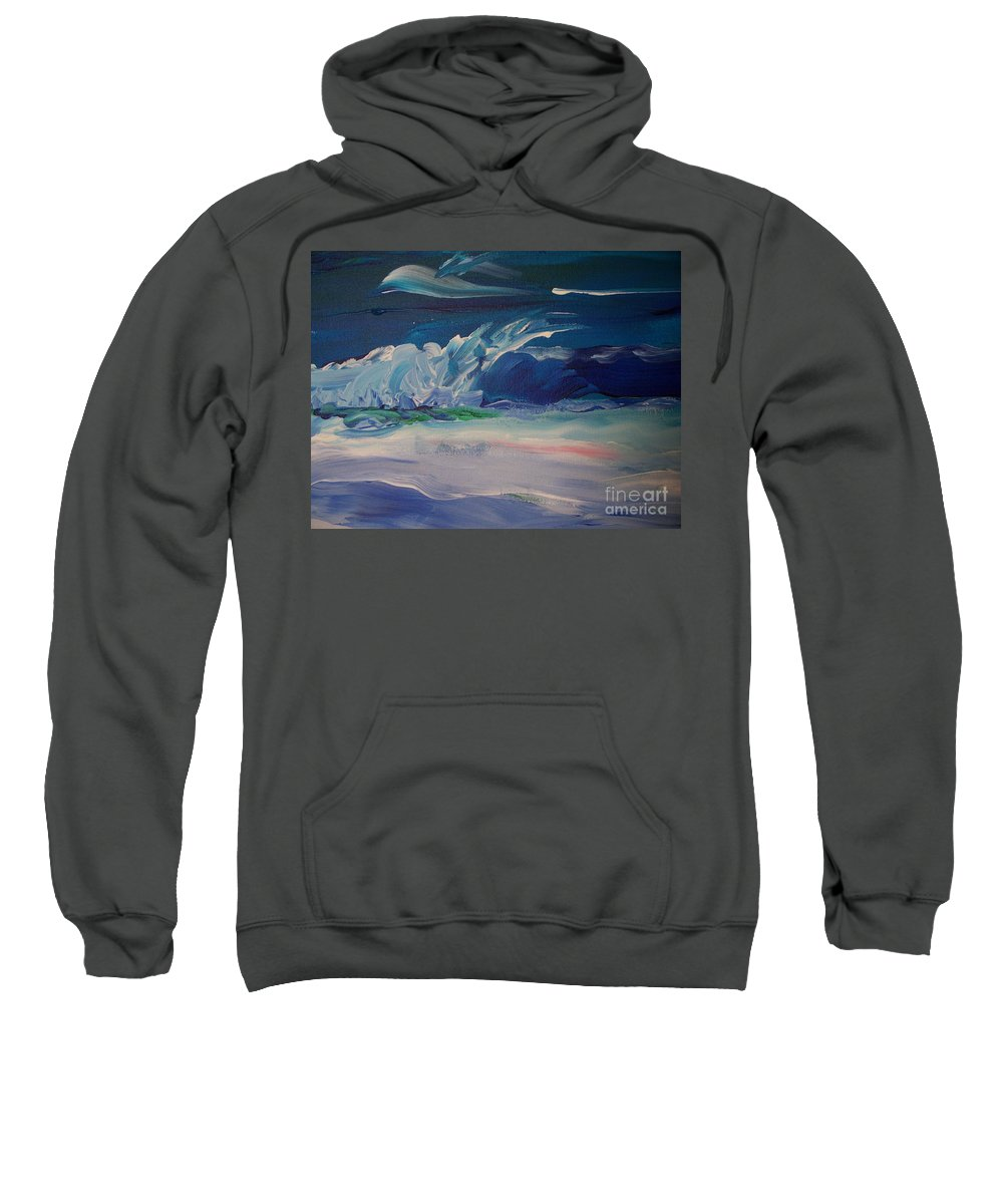 Impressionistic Sweatshirt featuring the painting Impressionistic Abstract Wave by Eric Schiabor