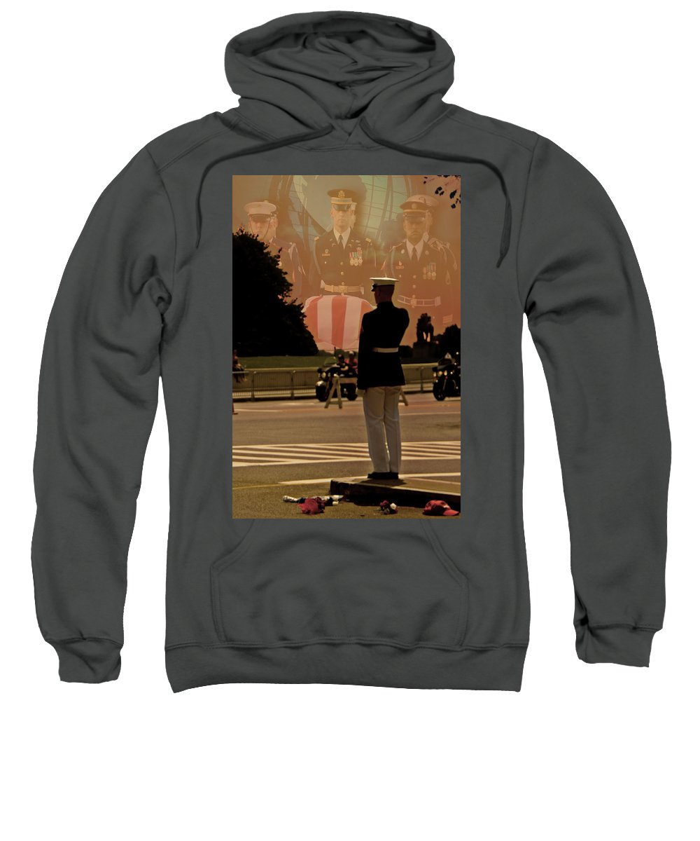 The Saluting Marine Sweatshirt featuring the photograph In Honor Of Our Fallen Heroes by Tom Gari Gallery-Three-Photography