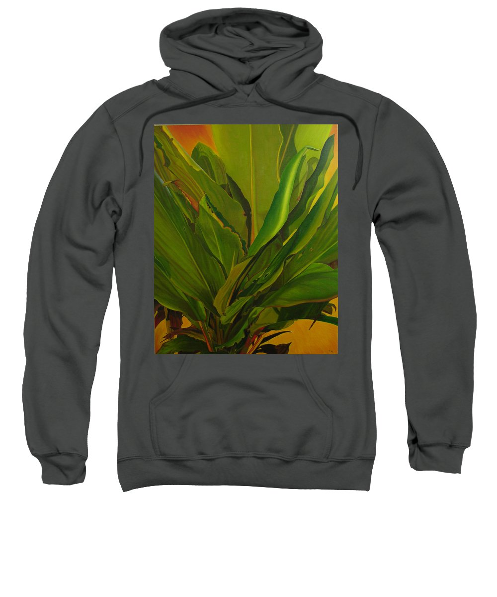 Plant Sweatshirt featuring the painting In Loving Memory Of Bobo by Thu Nguyen