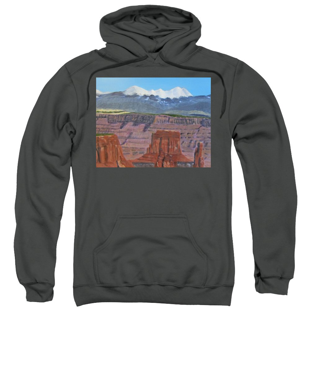 Landscape Sweatshirt featuring the painting In The Canyonlands Utah by Linda Feinberg