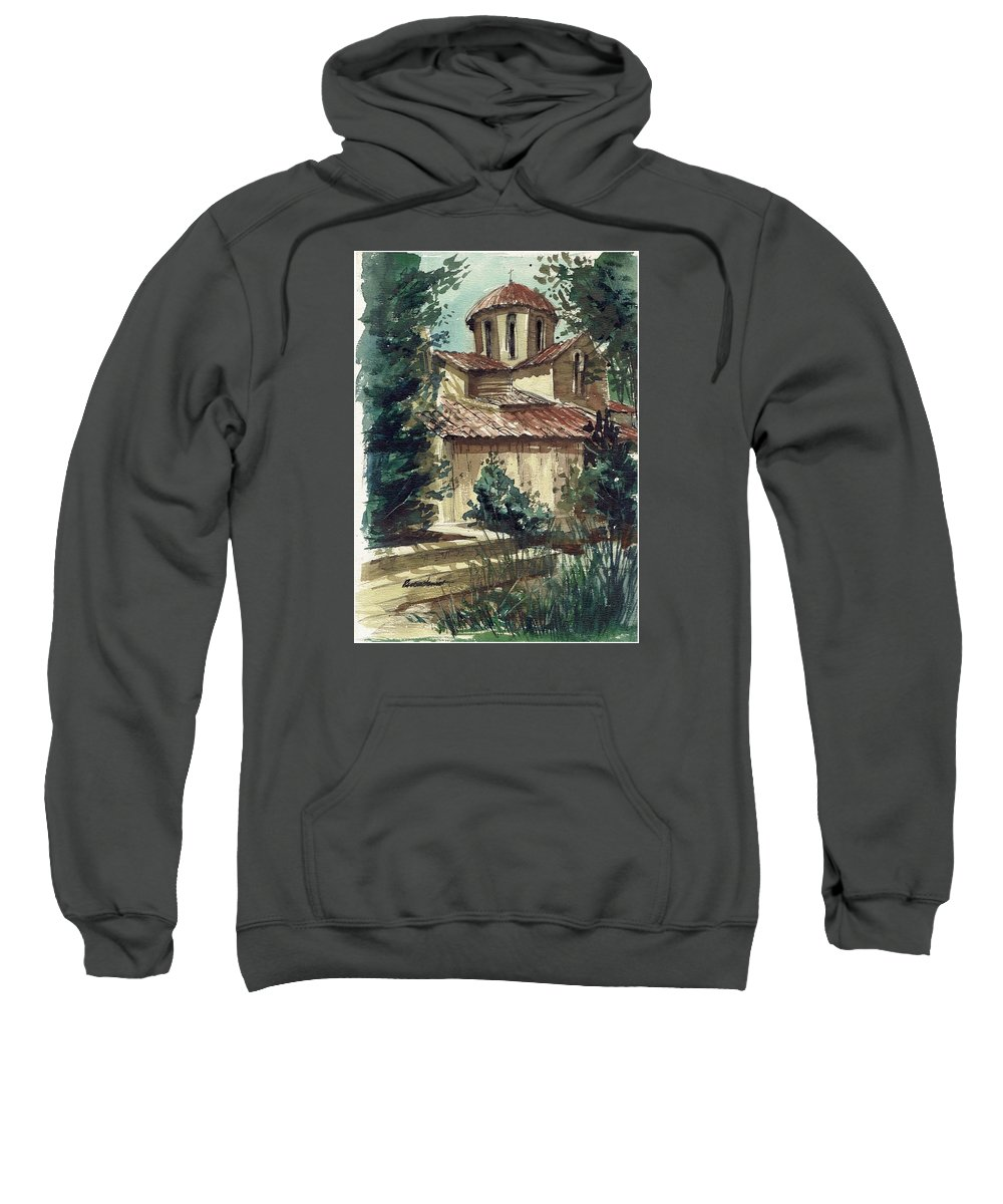 Landscape Sweatshirt featuring the painting In The Courtyard by Renee Benoit