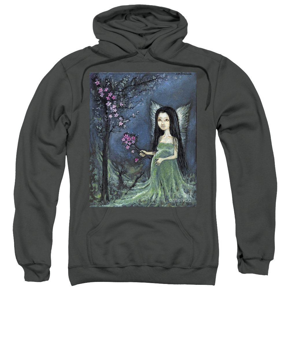 Angel Sweatshirt featuring the painting In The Orchard by Angel Ciesniarska
