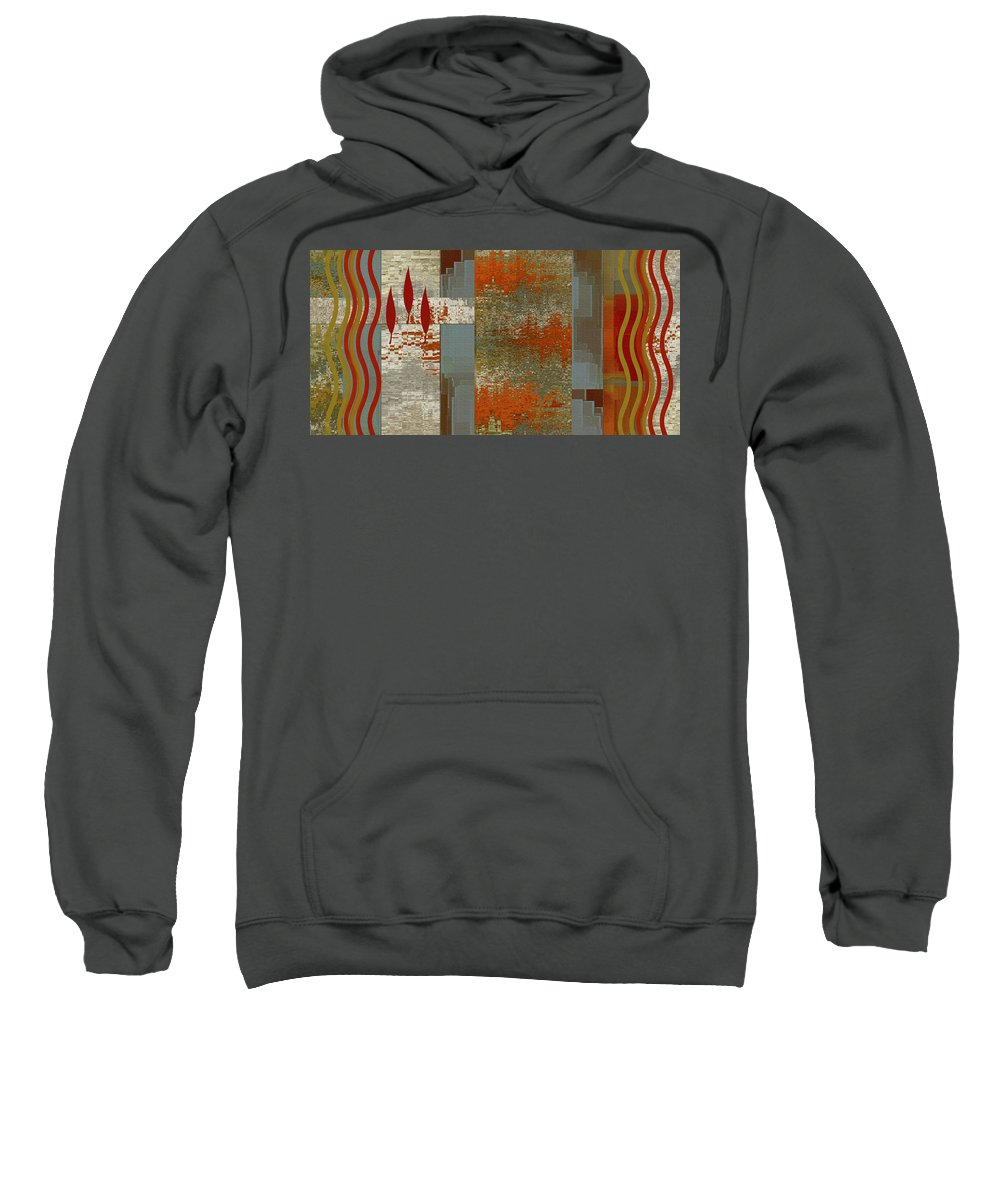 Botanical Abstract Sweatshirt featuring the digital art Indian Summer by Ben and Raisa Gertsberg