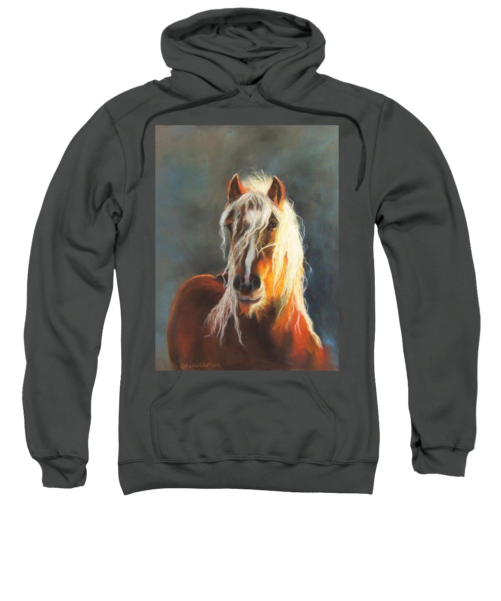 Hope Of Glory Gypsy Horse Sweatshirt featuring the pastel Ingalyl by Karen Kennedy Chatham