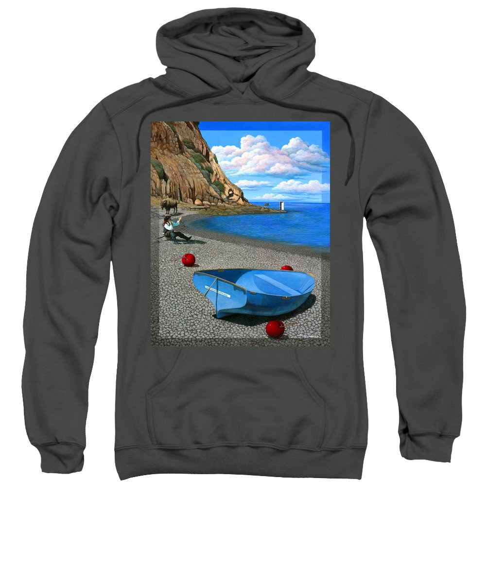 Pirate Sweatshirt featuring the painting Inquiries by Snake Jagger