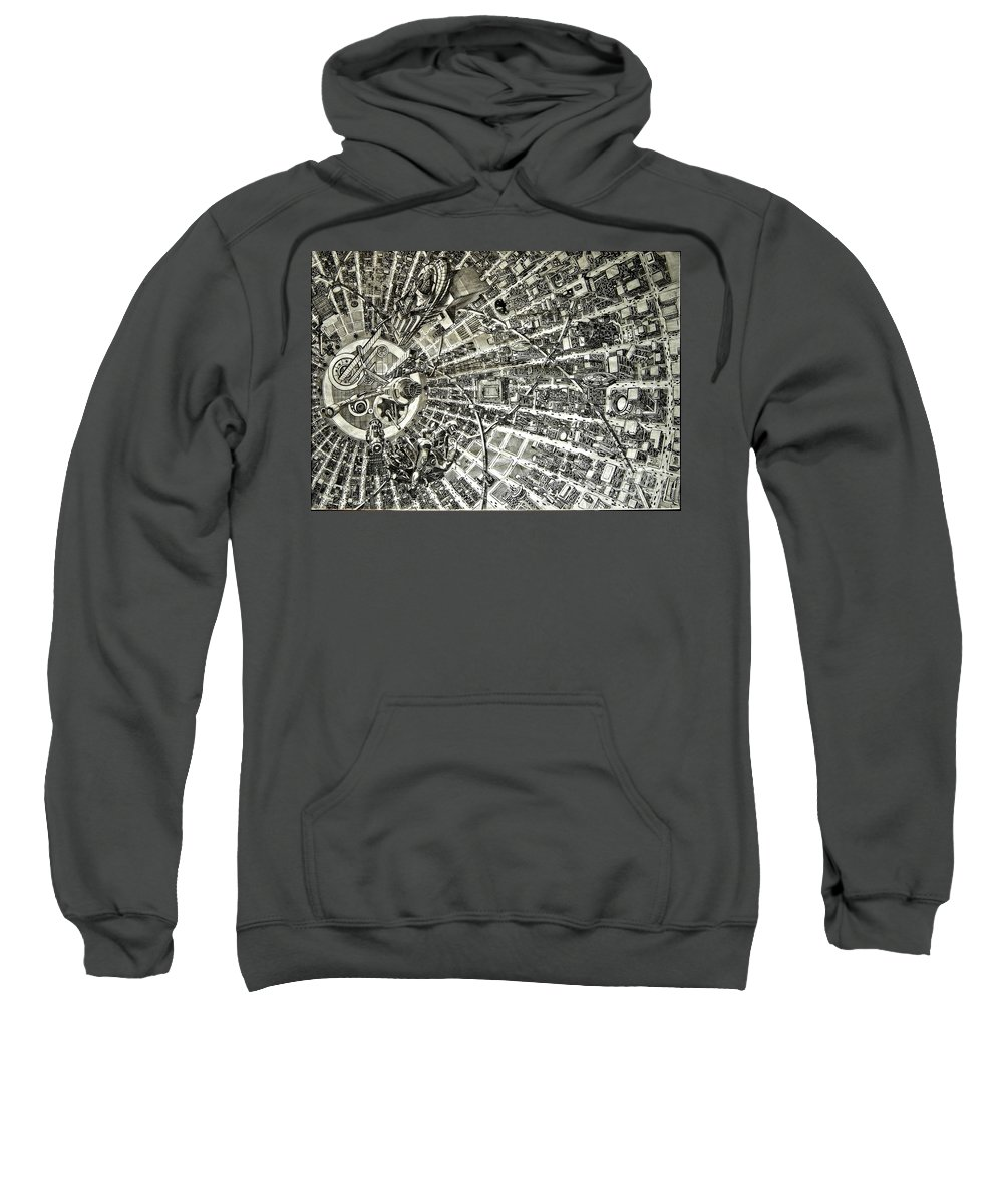 Cityscape Sweatshirt featuring the drawing Inside Orbital City by Murphy Elliott