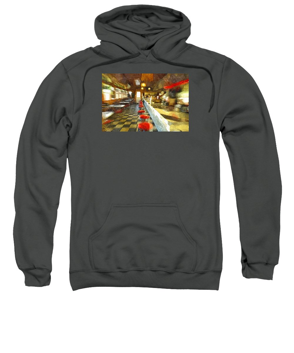 Interior Sweatshirt featuring the painting Inside The Cafe by Rachel Niedermayer