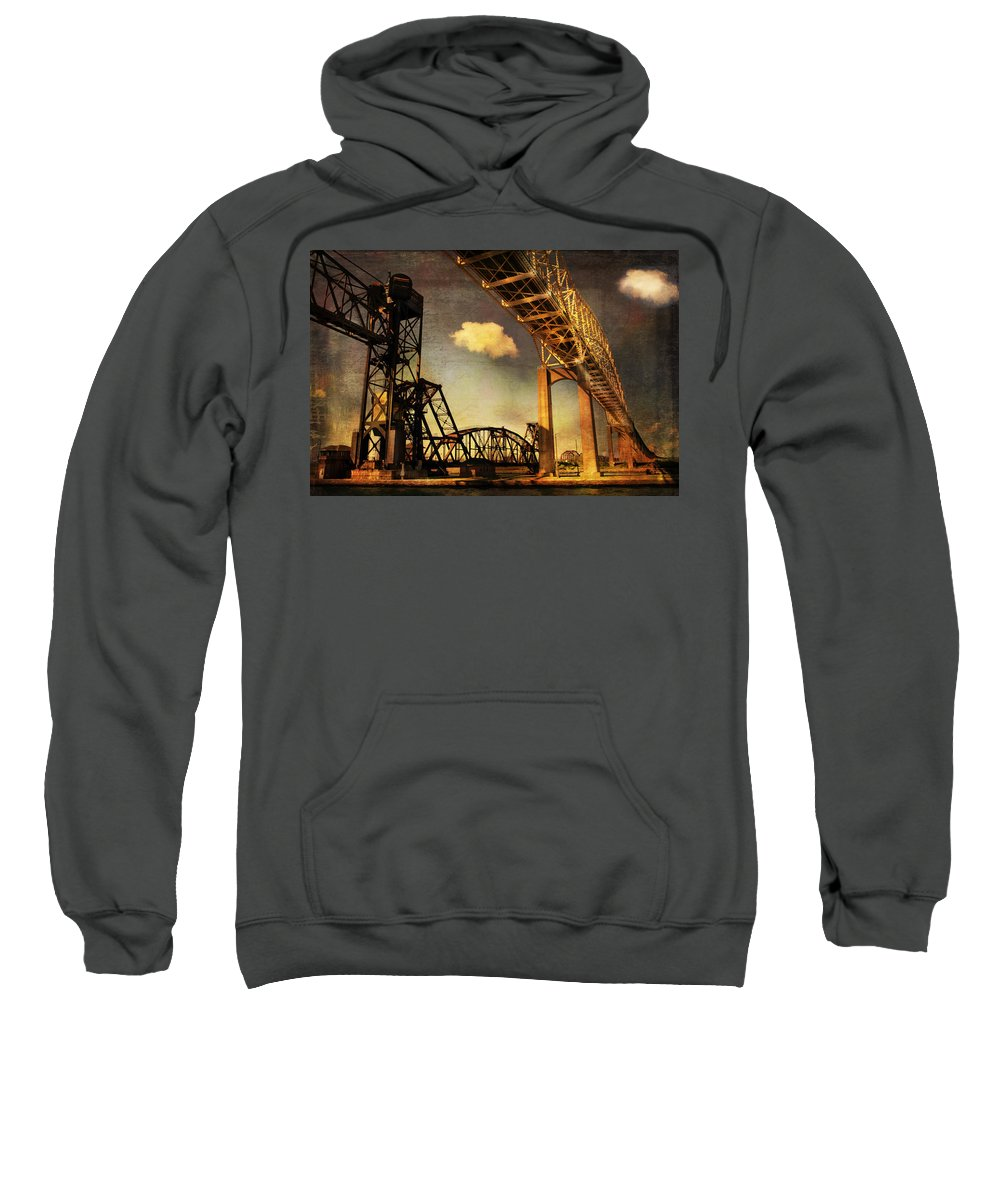 Evie Sweatshirt featuring the photograph International Bridge To Canada by Evie Carrier