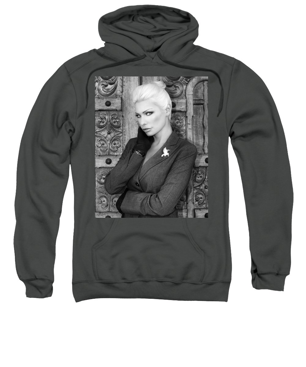 Blonde Sweatshirt featuring the photograph Intrigue Bw Fashion by William Dey