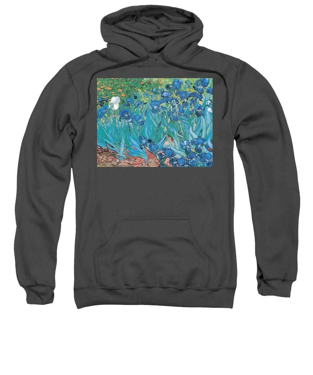 Irises Sweatshirt featuring the digital art Irises by Georgia Fowler