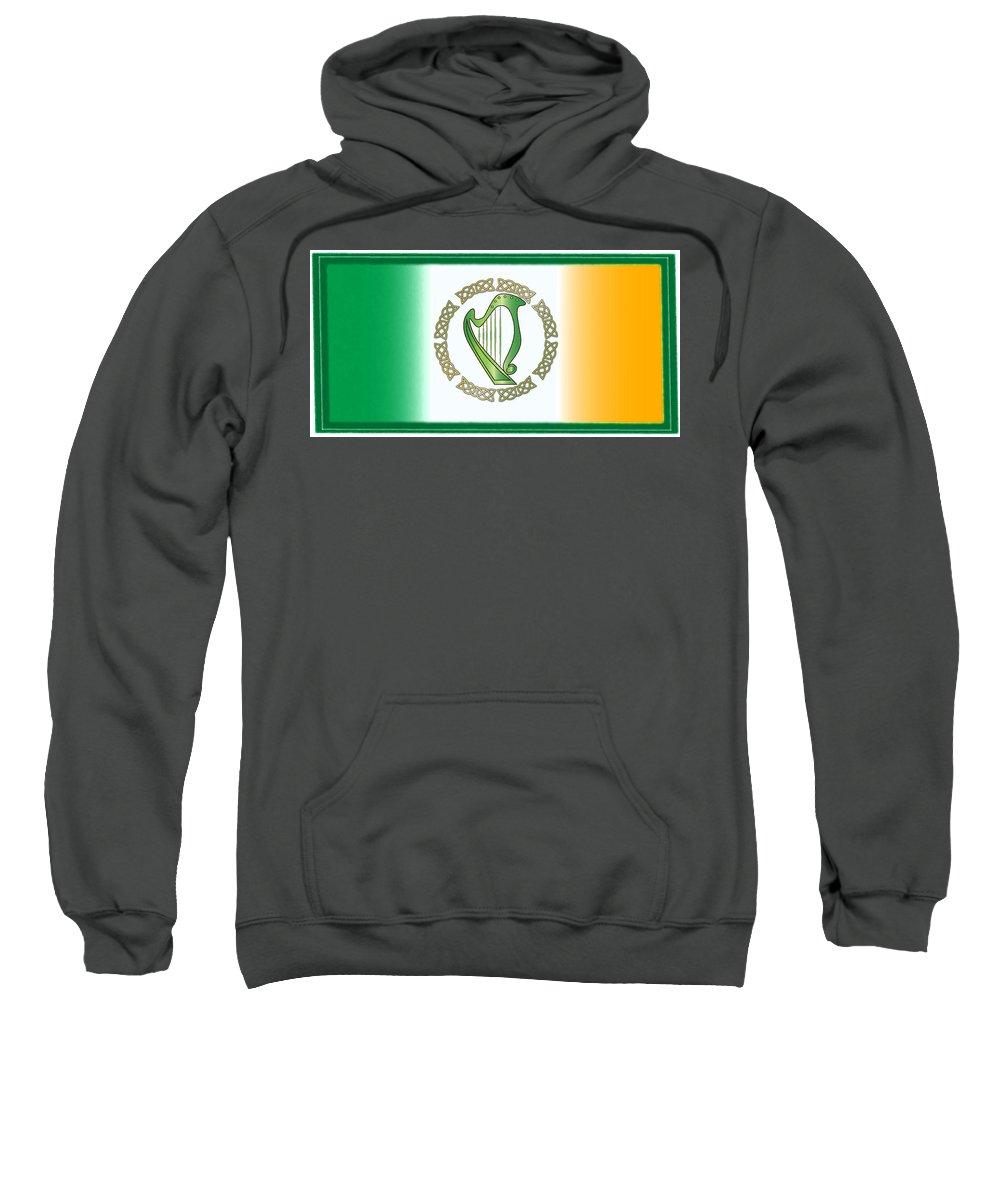 Irish Sweatshirt featuring the digital art Irish Harp by Ireland Calling