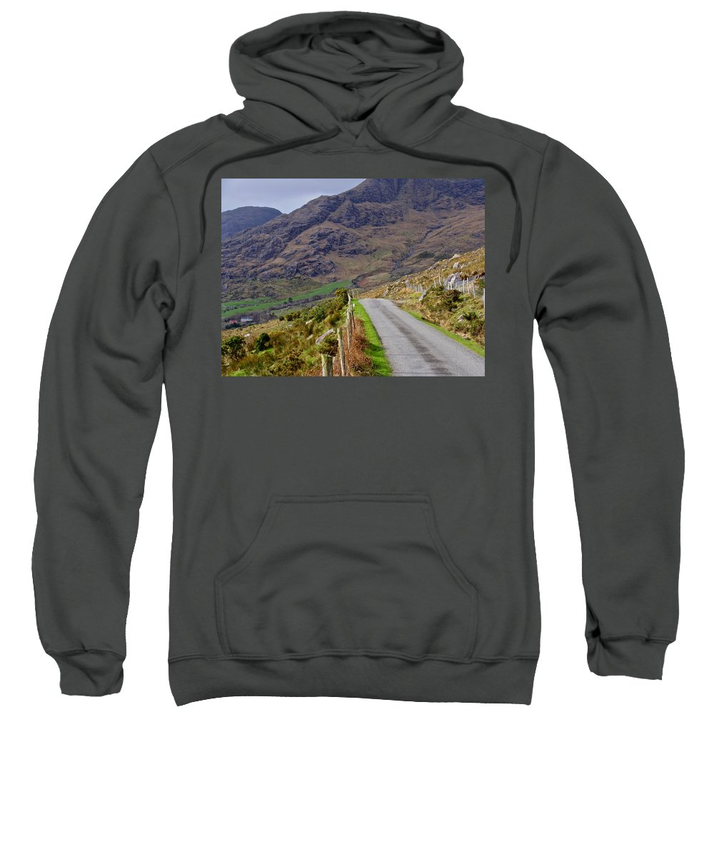 Irish Country Road Sweatshirt featuring the photograph Irish Road by Suzanne Oesterling