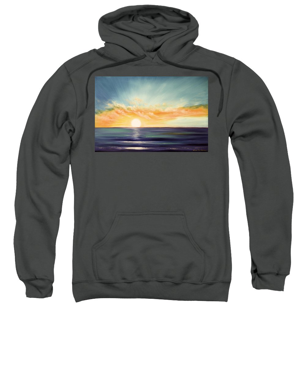 Sunset Sweatshirt featuring the painting It's A New Beginning Somewhere Else by Gina De Gorna