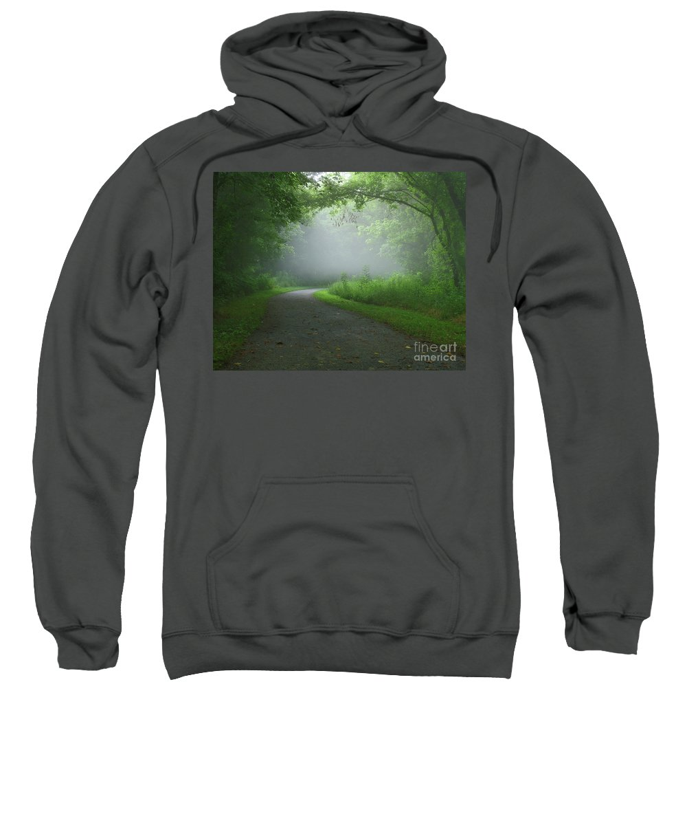 Green Sweatshirt featuring the photograph Mystery Walk by Douglas Stucky
