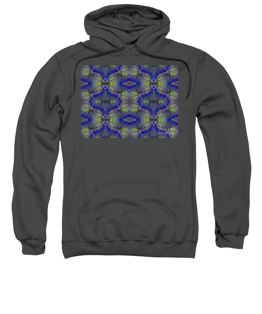 Ivy Sweatshirt featuring the photograph Ivy Abstract 1 Green Blue by Barbara Moignard